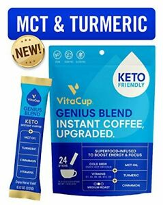 VitaCup Genius Coffee Instant Sticks 24ct w/ KETO MCT Oil, Turmeric, & Vitamins