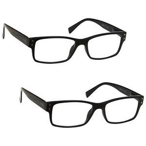 2 Packs Mens Large Designer Style Reading Glasses Spring Hinges UV Reader RR11