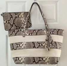 NWT MICHAEL KORS LEATHER CANVAS LARGE EW TOTE/PURSE 👜 & POUCH SNAKE PRINT $368.
