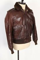 Vintage SCHOTT I-S-674-M-S Leather Flight Bomber Coat Jacket USA Mens Size 44