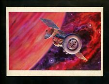 Space postcard Russian Concept Art Artist Sokolov 1978 chrome earth orbit