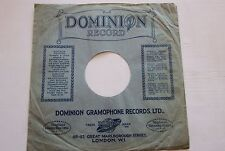 VINTAGE DOMINION RECORDS LONDON 78RPM RECORD SLEEVE 1930's