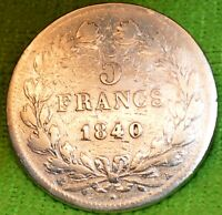 CPX-537 FRANCE 5 FRS ARGENT 1840 A LOUIS PHILIPPE I CV 280€ A 680€