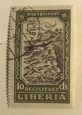 LIBERIA postage stamp Canoe in Surf 10 cents 1924