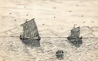 1906 ORIGINAL BLACK INK LINE DRAWING of  SAILING BOATS on RIVER POSTCARD UNUSED