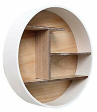 Wooden Round Wall Shelf Display Storage Floating Cabinet Rack Organizer Unit