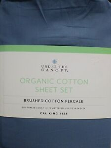 New Under The Canopy Cal King Sheet Set 100% Brushed Organic Cotton color Blue