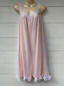 🤍 Balmoral Original   Pink Opaquelon Sheer Overlay Ruffle Hem Nightdress SSW