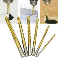 6 x HSS Titanium Coated Drill Bit Tool Set Woodworking Cutting Tools 3-8mm New