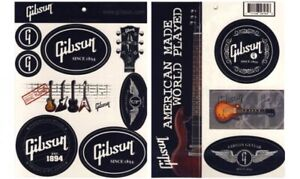 Gibson Guitar Stickers 12 Decals on 8.5 x 11 Sheet Les Paul SG Official Gibson