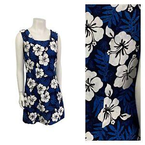 1980s Hawaiian Dress / 80s Floral Print Sleeveless Mini Dress Square Neck M/L