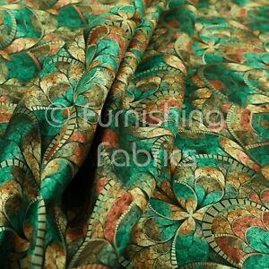 Designer Teal Mosaic Theme New Pattern Velour Printed Velvet Upholstery Fabrics
