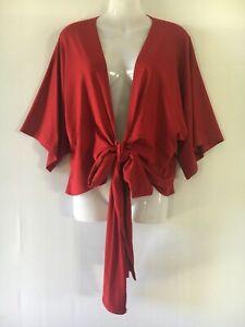 Mela Purdie 20 top wrap tie front red stretch short sleeve causal dance xmas 3XL