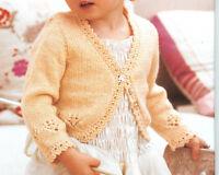 Knitting Pattern-Baby Girls Bolero Cardigan in DK wool- fits 3 Mths-6 Years