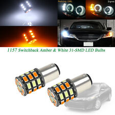 2pc White/Amber 1157 2357 S25 LED Bulbs For Front Turn Signal DRL Driving Lights