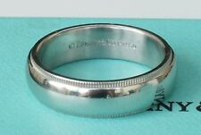 Platinum Tiffany & Co Double Milgrain 6mm Wedding Band Ring Size 9.5