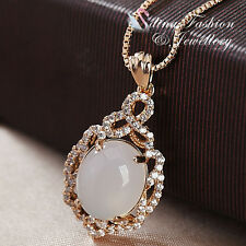 18K Rose Gold Plated Semi-Precious Stone & Diamond Vintage Oval Cut Necklace
