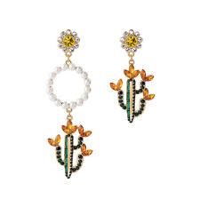Ohrringe Kreis cactus asymmetrisch Perle gelb grün schwarz Retro AA26