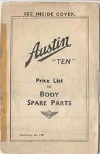 Austin Ten 10 original Price List of Body Spare Parts Nov 1937  Pub. No. 1595