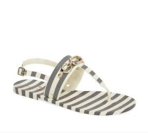 $98 Kate Spade women's sandals polly black & cream striped rubber size 9 B40