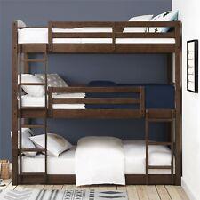 Better Homes Tristan Twin Floor Triple Bed Bunk Bedroom Furniture Wood Mocha