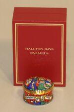1998 Halcyon Days Enamel Trinket Box Christmas Stained Glass Window in Box
