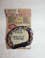 Survival Paracord Bracelet Built-in Survival Whistle 11'+L 400 lbs Brown/White
