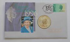 1996 Australia QUEEN'S Compleanno di $1 UN DOLLARO 1 OZ ARGENTO FDC COIN COVER