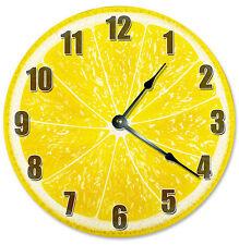 YELLOW LEMON  CLOCK Large 10.5 inch Round Wall Clock FRUIT - 2189