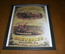 FRED LAUER BREWERIES FRAMED AD PRINTS - READING, PA. - YOUR CHOICE