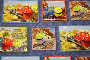 Fabric Chuggington Trains Patch Blue COTTON Fat Quarter Quilting Kids Material