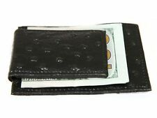 Ostrich Embossed Leather Slim Magnetic Money Clip 3 Credit Card Holder Black