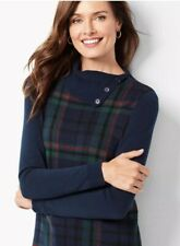 NWT TALBOTS LADYS COTTON TARTAN PLAID COWL NECK PULLOVER SWEATER SIZE P