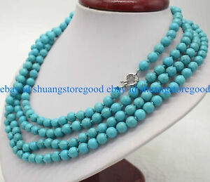 Super Long 100 Inch Blue Turquoise Round Gemstone Beads Necklace AAA 6/8/10MM