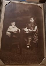 Antique Vintage Young Girl Having Tea with Baby Brother Photograph