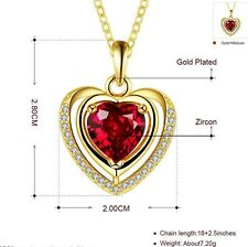 """Gold Over Sterling Silver Red Garnet Heart Crystal 19"""" Chain Pendant Necklace"""