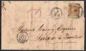 Gibraltar 1861 cover/ Spain 1860 4c/British 2d private ship rate/CADIZ cancel