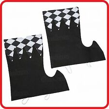 HARLEQUIN CHEQUERED BLACK WHITE DIAMOND SHOE BOOT SPATS COVERS TOPS-CLOWN CIRCUS