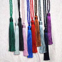Long Tassel Pendant Sweater Women' Crystal Beaded Necklace Chain Jewelry