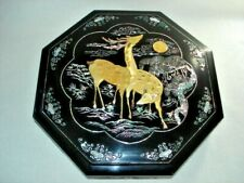"""Mother of Pearl Inlaid Black Lacquered Octagonal Box 14.5"""" W Nine Compartments"""