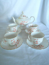 Crown Staffordshire England art deco orange lacquer blossom corset teapot, cups