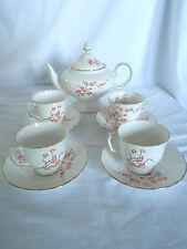 Crown Staffordshire England art deco orange lacquer blossom corset teapot, cups