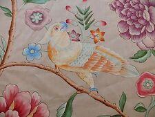 Clarence House Les Oiseaux Enchantes Bird Print Silk Italian Ratti Greige 2.4Y