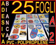 25 CARTA ADESIVA VINILE BIANCA LUCIDA PERMANENTE 42X59,4 STAMPA LASER SERIGRAFIA