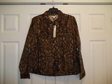 WOMENS SIZE 2X ANIMAL PRINT DEMIM JACKET JONES NEW YORK NEW FABULOUS HIP