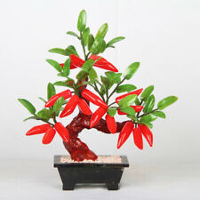 Hot Pepper Jade Plant Tree Bonsai Stone Gemstone Leaves Red Chili Vegetables