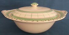 RARE VINTAGE BRITISH ANCHOR COTTAGE GREEN ART DECO TUREEN CASSEROLE SERVING DISH
