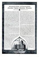 Zigaretten Salem Aleikum Dresden XL Reklame 1913 Yenidze Werbung Inhaber Zietz