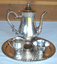 Vintage Wm Rogers 800 SILVER SILVERPLATE COFFEE TEA POT, CREAMER & SUGAR & TRAY