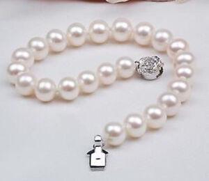 Natural AAA 9-10mm White Akoya Pearl Bracelet 7.5''